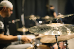 Cymbals on stage closeup.