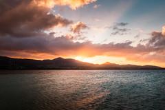 Coucher de soleil sur Basse-Terre, Grand Cul-de-sac marin, Guadeloupe