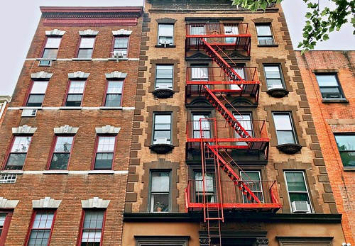 Brownstone (red escape) - Manhattan, New York City