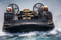 A U.S. Navy LCAC from USS New York (LPD 21) operates in the Arabian Gulf.