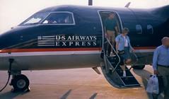 Passengers exit N911HA in Charlottesville