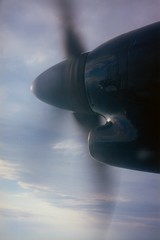 Right propeller of N911HA in flight
