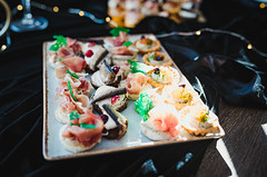 Close Up With Luxury Canapes With Herring And Crea