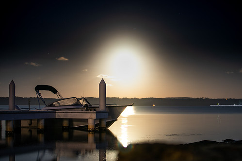 Boat under moonlight