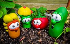VeggieTales Class Photo in the Garden
