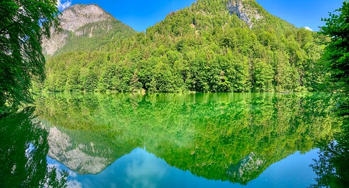 Panorama of lake Stimmersee with reflections in Tyrol, Austria