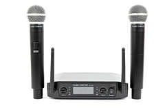 Vocal Microphones with Wireless Transmitter above white background