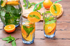Refreshing summer lemonade with mint and citrus