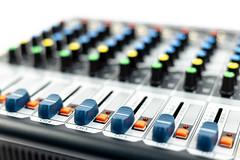 Closeup of Music Studio Mixer Console Knobs