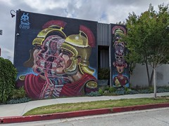 Exploded centurion head mural, Burbank, California, USA