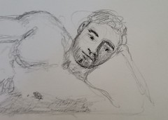 My graphite pencil drawing of Jefferson @jefferson.pressly at the MNDG-NYC online session June 7, 2020. #art #drawing #malenude #figure #jwaynehiggs #jwhimages20200607_142218