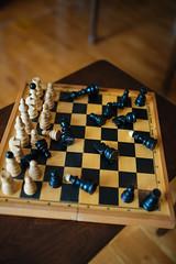 Chess at home. White winners.