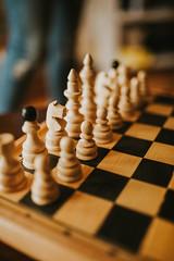 Closeup of white team. Chess game closeup.
