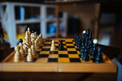 Playing chess at home closeup.