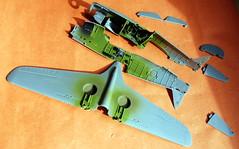 Airfix 1/48 scale Curtiss Tomahawk underconstruction.