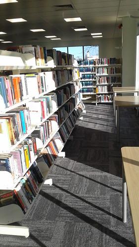 Books on shelves, Shirley Library