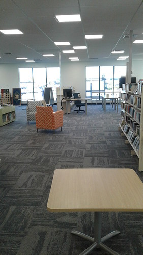 New carpeting and furniture, Shirley Library