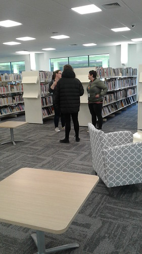 Library staff and new furniture, Shirley Library