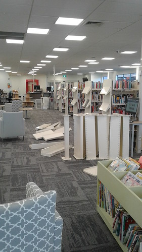 Dismantled book shelves, Shirley Library