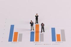 Miniature figures businessmen standing on a graph chart