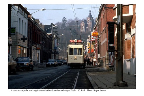 Thuin. Tram in the street. 10.3.85
