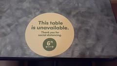 Unavailable table at Panera Bread