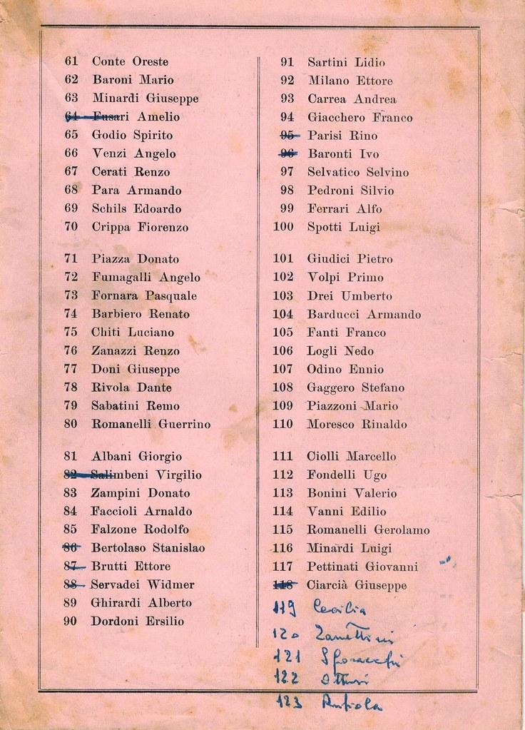 33° Coppa Bernocchi 1951 - elenco iscritti pag 2