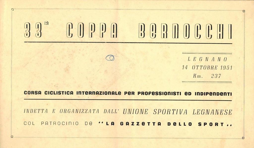 33° Coppa Bernocchi 1951