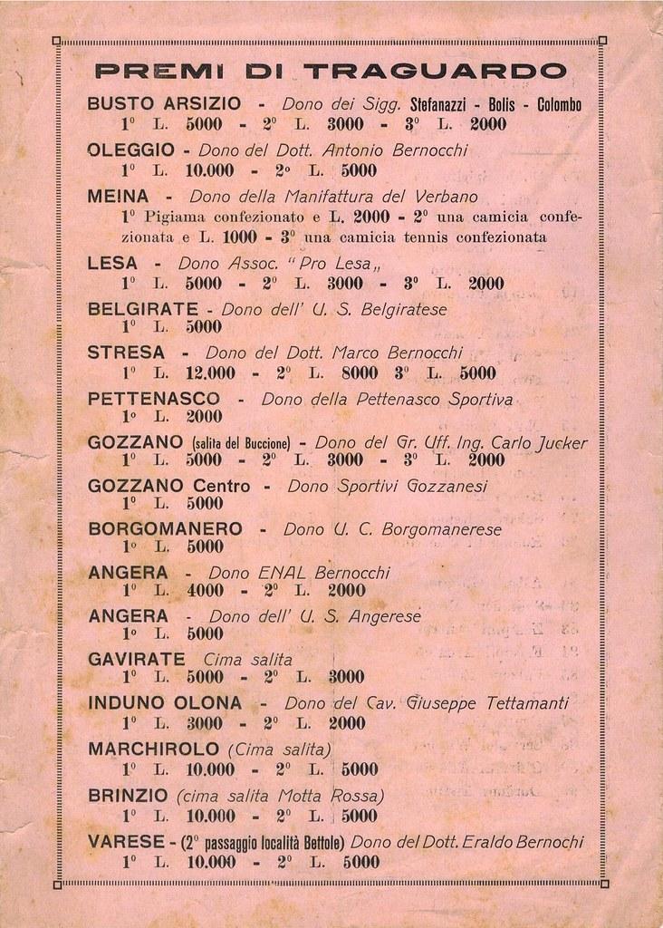 33° Coppa Bernocchi 1951 - premi di traguardo