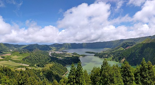 Panorama of Sete Cidades lakes from Monte Palace