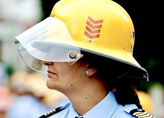 The Woman Firefighter Yellow Helmet