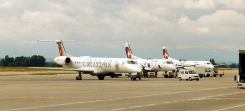 Crossair group of EMB-145 and Saab 2000s at  BSL 291000