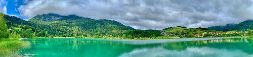Panorama of lake Thiersee in Tyrol, Austria