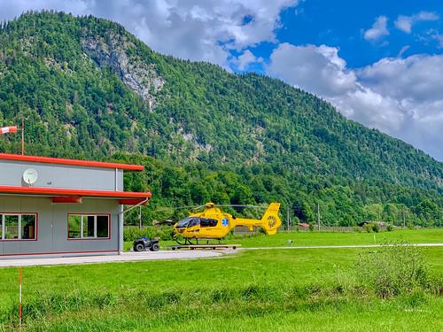 Helicopter at Langkampfen-Au Heliport near Kufstein in Tyrol, Austria
