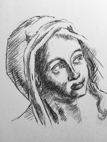 D'après Philippe de Champaigne, portrait de sa fille Françoise  Crayon gras. From Philippe de Champaigne : his daughter's portrait.  Derwent Drawing pencil.