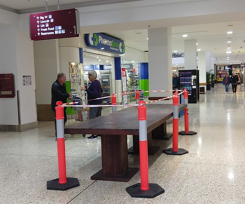 Coronavirus Chronicle: Taped up table, Westfield Woden, ACT