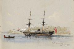 HMS Torch at anchor, [attrib. Sydney], 27 August 1855, watercolour sketch by Conrad Martens