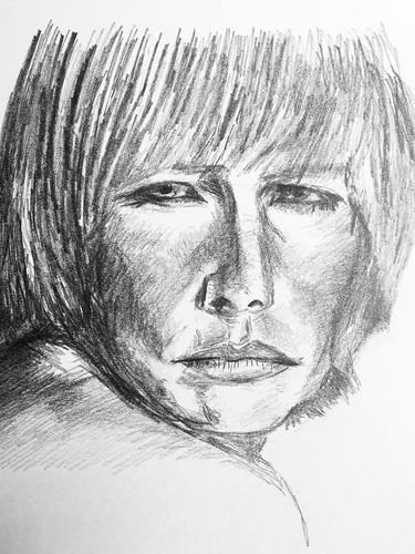Hommage à Claire Bretécher... (crayon HB) Pour les fans, je recommande de Hors Série de l'Obs qui vient de sortir.  Que de bons souvenirs 😃