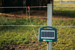 Electric fence energiser with integrated solar panel. Patura P70 Solar
