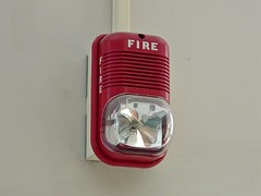 SpectrAlert fire alarm horn/strobe at Benjamin Franklin Middle School