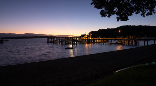 Sunset over Russell Wharf, Northland, New Zealand