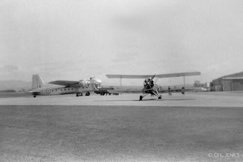 1957 RNZAF Bristol Freighter NZ5903 at Woodbourne, Avro 626 ZK-APC in foreground, 1957.