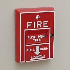 Fire alarm pull station in Potomac Hall