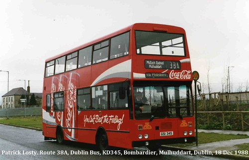 Route 38A, Mulhuddart to Middle Abbey Street, Dublin Bus, KD345, December 1988