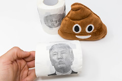 Hand holds a loo roll with Donald Trump's face, in the background a fluffy emoji poop plush toy