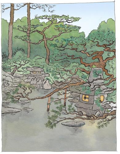Japan, Yamaguchi (Yuda onsen), Japanese garden in our ryokan