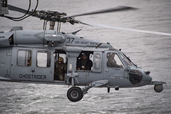 An MH-60 Sea Hawk helicopter flies over the Baltic Sea during exercise Baltic Operations 2020.