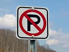 No parking sign on Gathright Dam