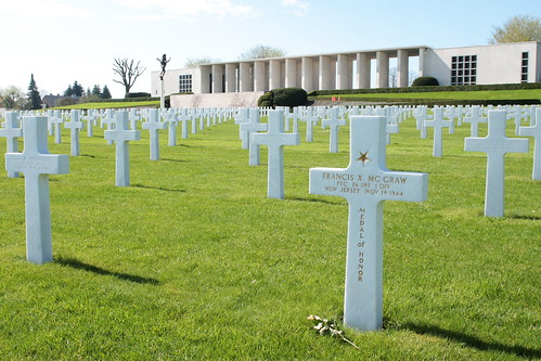 Grave of Private Francis Xavier McGraw recipient of the Medal of Honor Henri-Chapelle American Cemetery and Memorial Belgium