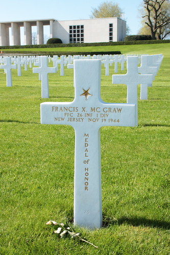 Grave of Private First Class Francis Xavier McGraw recipient of the Medal of Honor Henri-Chapelle American Cemetery and Memorial Belgium
